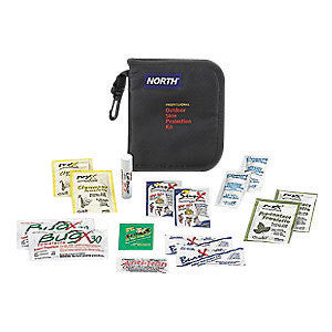 "North™ By Honeywell 6 7/8"" X 5 5/8"" X 1"" Black Nylon Portable Mount 1 Person Bulk First Aid Kit"