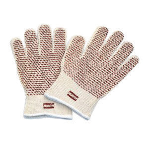 "North™ By Honeywell Grip-N Men̥s Natural Cotton Ambidextrous Hot Mill Gloves With Wide Knit Wrist And Nitrile ""N"" Coating On Both Sides"