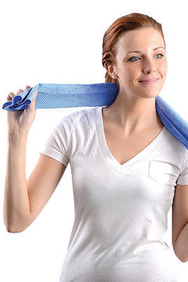 "OccuNomix 29 1/2"" X 14"" Blue Miracool™ Light Weight Cooling Towel"