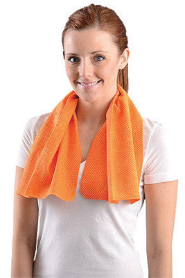 "OccuNomix 29 1/2"" X 14"" Orange Miracool™ Light Weight Cooling Towel"