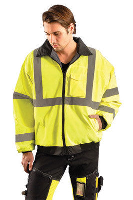 "OccuNomix Large Hi-Viz Yellow Value Polyester And Polyurethane Coated Class 3 Bomber Jacket With Front Zipper Closure, 2"" Silver Reflective Tape, Fleece Lining, Roll Away Hood And 4 Pockets"