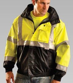 OccuNomix Black And Yellow Polyester/Fleece/PU Coating Bomber Jacket