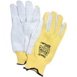 Honeywell Mens Yellow And Gray Sperian BullDog Standard Weight Leather Cut Resistant Gloves With Continuous Knit Wrist, Kevlar™ Lined And Reinforced Thumb Crotch