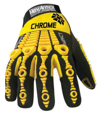 HexArmor™ Size 7 Black And Yellow Chrome Series™ Clute Cut SuperFabric™ And Leather Reusable 360° Cut Resistant Gloves With Elastic Cuff, SuperFabric™ Lined And PVC Printed Synthetic Leather Palm