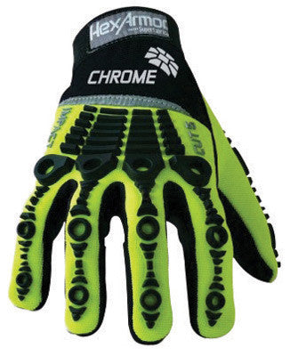 HexArmor™ Size 7 Hi-Viz Green And Black Chrome Series™ Clute Cut SuperFabric™ And Synthetic Leather Reusable Cut Resistant Gloves With Elastic Cuff, SuperFabric™ Lined, PVC Dotted Synthetic Leather Palm And Back Of Hand