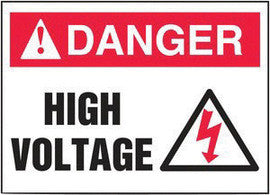 "3.5"" x 5"" DANGER High Voltage Adhesive Sign"