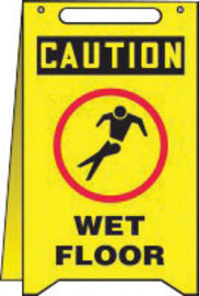 "Accuform Signs® 20"" X 12"" Black, Red And Yellow 1/8"" High Impact Plastic Fold-Ups® Housekeeping And Hygiene Sign ""CAUTION WET FLOOR (With Graphic)"""