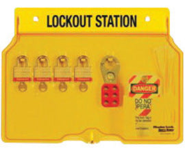 "Master Lock® Yellow 16"" X 12 1/4"" X 1 3/4"" Resilient Polycarbonate Padlock Station Includes (4) Keyed Different Padlocks, (2) Hasps And (1 Bag of 12) Tags (Keyed Differently)"