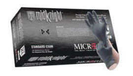 "Microflex™ Black 9.645"" MidKnight» 4.7 mil Nitrile Ambidextrous Non-Sterile Medical Grade Powder-Free Disposable Gloves With Fully Textured Finish And Standard Examination Beaded Cuff (100 Each Per Box)"