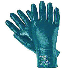 Memphis Predalite® Light Weight Abrasion Resistant Blue Nitrile Dipped Palm Coated Work Gloves With Interlock Liner And Safety Cuff