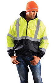"OccuNomix Black/Hi-Viz Yellow Classic™ Three-Way Black Bottom Bomber PU Coating Waterproof Polyester Class 3 Jacket With Zipper Closure, 2"" Silver Reflective Tape And Eight Pockets"