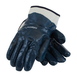 Protective Industrial Products® ArmorTuff® Standard Weight Cut And Chemical Resistant Blue Nitrile Dipped Palm And Fingertip Coated Work Gloves With Cotton And Jersey Liner And Safety Cuff