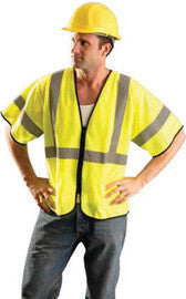 "Radnor™ 2X - 3X Hi-Viz Yellow Polyester And Mesh Class 3 Value Vest With Zipper Front Closure, 2"" Silver Reflective Tape Striping And 2 Pockets"