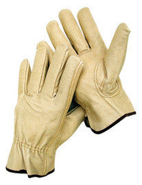 Radnor™ Grain Pigskin Unlined Drivers Gloves With Keystone Thumb, Slip-On Cuff, Color-Coded Hem And Shirred Elastic Back
