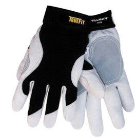 Tillman™ Black And White TrueFit™ Full Finger Top Grain Goatskin And Spandex® Premium Mechanics Gloves With Elastic Cuff, Double Leather Palm, Reinforced Thumb And Smooth Surface Fingers