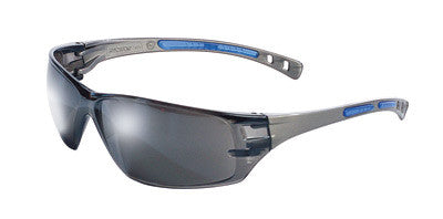 Radnor™ Cobalt Classic Series Safety Glasses With Charcoal Frame, Silver Mirror Lens And Flexible Cushioned Temples