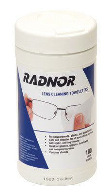 "Radnor™ 5"" X 8"" Pre-Moistened Lens Cleaning Towelettes (100 Per Pull-Out Canister)"