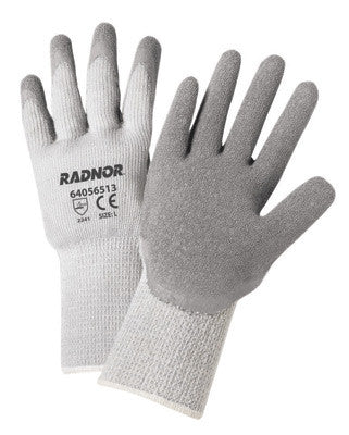 Radnor™ Small Gray Thermal String Knit Cold Weather Gloves With Latex Palm Coating