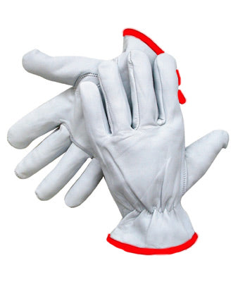 Radnor®Premium Goatskin Unlined Drivers Gloves With Keystone Thumb, Slip-On Cuff, Red Hem And Shirred Elastic Back