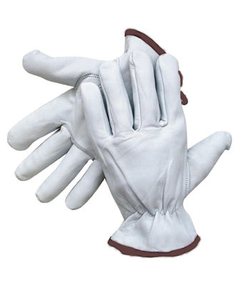 Radnor®Grain Goatskin Unlined Drivers Gloves With Straight Thumb, Slip-On Cuff, Red Hem And Shirred Elastic Back