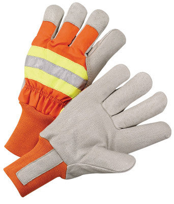 Radnor™ Large Orange And Gray Pigskin And Polyester Thinsulate™ Lined Cold Weather Gloves With Wing Thumb And Knit Wrist