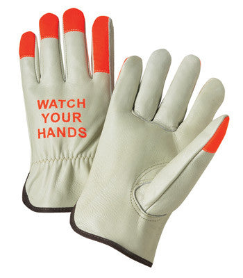 "Radnor™ Small Select Grain Cowhide Unlined Drivers Gloves With Keystone Thumb, Shirred Elastic Cuff, Hi-Vis Orange Fingertips And  ""Watch Your Hands"" Logo On Back"