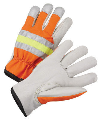 Radnor™ Small Gray And Hi-Viz Orange Grain Cowhide Unlined Drivers Gloves With Keystone Thumb, Slip-On Cuff And Color-Coded Hem