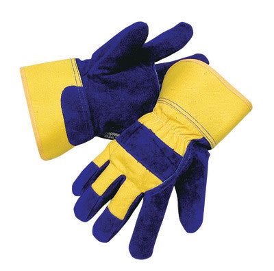 Radnor™ Large Blue And Yellow Leather And Canvas Thinsulate™ Lined Cold Weather Gloves With Safety Cuffs And Waterproof Barrier