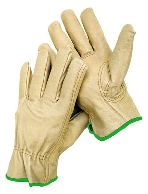 Radnor® Grain Cowhide Unlined Drivers Gloves With Straight Thumb, Slip-On Cuff, Green Hem And Shirred Elastic Back