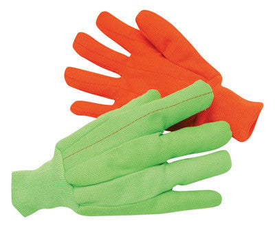 Radnor™ Large Hi-Viz Green 18 Ounce Cotton/Polyester Blend Fully Corded Cotton Canvas Gloves With Knitwrist And Double Palm