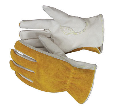 Radnor™ Small Premium Grain Split Back Cowhide Unlined Drivers Gloves With Keystone Thumb And Shirred Elastic Back (Carded)