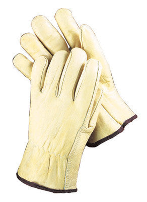 Radnor™ Small Grain Cowhide Unlined Drivers Gloves With Straight Thumb, Slip-On Cuff, Color-Coded Hem And Shirred Elastic Back