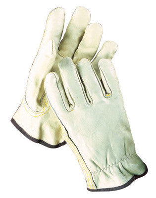 Radnor™ Small Grain Cowhide Unlined Drivers Gloves With Keystone Thumb, Slip-On Cuff, Color-Coded Hem And Shirred Elastic Back