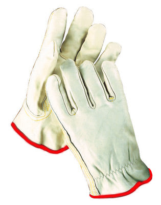Radnor® Grain Cowhide Unlined Drivers Gloves With Keystone Thumb, Slip-On Cuff, Red Hem And Shirred Elastic Back