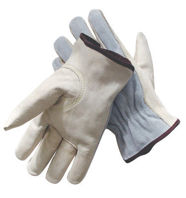 Radnor™ Small Grain Palm Split Cowhide Back Leather Unlined Drivers Gloves With Keystone Thumb, Slip-On Cuff, Color-Coded Hem And Shirred Elastic Back