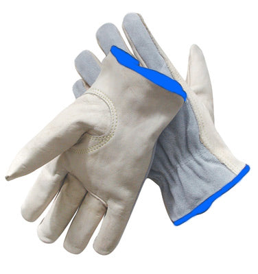 Radnor™ Grain Palm Split Cowhide Back Leather Unlined Drivers Gloves With Keystone Thumb, Slip-On Cuff, Color-Coded Hem And Shirred Elastic Back