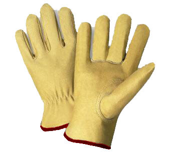 Radnor®Grain Pigskin Unlined Gunn Cut Drivers Gloves With Straight Thumb, Slip-On Cuff Shirred Elastic Back