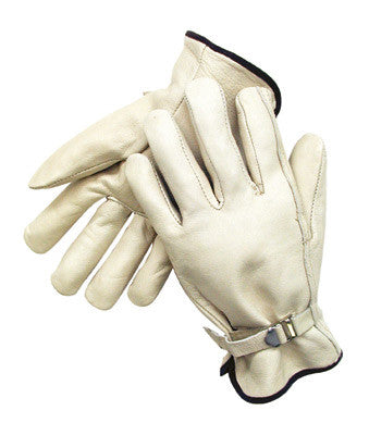 Radnor™ Large Grain Cowhide Unlined Drivers Gloves With Straight Thumb, Wrist Strap Cuff And Color-Coded Hem