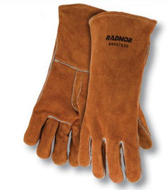 "Radnor™ Large Brown 14"" Shoulder Split Cowhide Cotton Lined Welders Gloves With Reinforced, Straight Thumb And Kevlar™ Stitching"