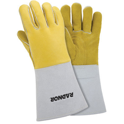 "Radnor™ Small Gold 14"" Grain Elkskin Foam Lined Welders Glove With Reinforced Straight Thumb And Stiff Cowhide Cuff (Carded)"