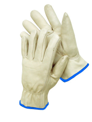 Radnor® Premium Grain Leather Unlined Drivers Gloves With Keystone Thumb, Slip-On Cuff And Red Hem