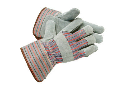 Radnor™ Large Gray Leather Thinsulate™ Lined Cold Weather Gloves With Wing Thumb, Safety Cuffs, Leather Knuckle Strap And Elastic Back
