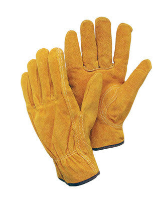 Radnor™ Small Leather Unlined Drivers Gloves With Keystone Thumb, Slip-On Cuff, Color-Coded Hem And Shirred Elastic Back