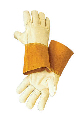 "Radnor™ Medium Standard Grain Cowhide MIG/TIG Welders Glove With 4"" Split Leather Cuff, Kevlar™ Sewn Reinforced Thumb Strap And Pull"