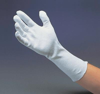"Radnor™ Men's White 12"" Medium Weight 100% Cotton Reversible Two Piece Pattern Inspection Gloves With Extended Unhemmed Cuff"