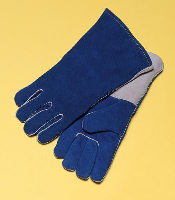 "Radnor™ Large Blue 14"" Premium Side Split Cowhide Cotton Lined Welders Gloves With Wing Thumb And Kevlar™ Stitching"