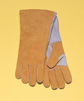 "Radnor™ Large Bourbon Brown 14"" Premium Side Split Cowhide Cotton/Foam Lined Insulated Welders Gloves With Double Reinforced, Wing Thumb"