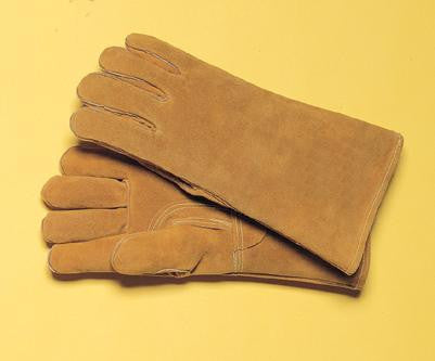 "Radnor™ Large Bourbon Brown 14"" Premium Side Split Cowhide Cotton Lined Welders Gloves With Reinforced Straight Thumb, Welted Fingers, Kevlar™ Stitching And Pull Tab(Carded)"