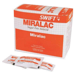 North By Honeywell™ Swift First Aid Miralac Sugar Free Antacid Indigestion Tablet (2 Per Pack, 250 Packs Per Box)