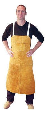 "Radnor™ 24"" X 42"" Bourbon Brown Side Split Leather Bib Apron With Two Chest Pockets, Cotton Crossed Back Straps And Side Release Buckles"